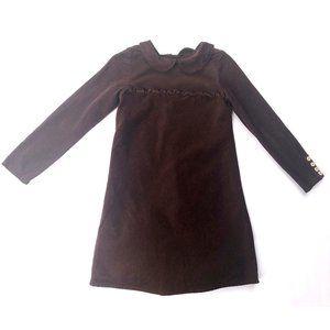 OLIVE JUICE BROWN CORDUROY LONG SLEEVE DRESS